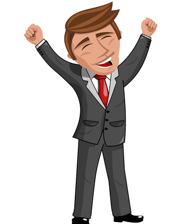 businessman standing: Happy Cartoon Businessman standing and exulting isolated Illustration