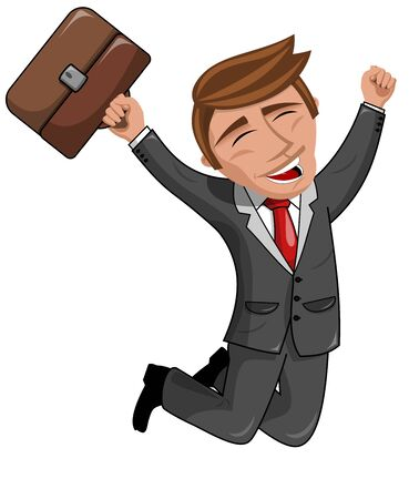 businessman jumping: Happy Cartoon Businessman Jumping isolated Illustration