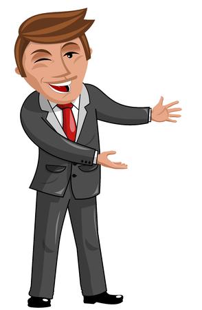 proud: Proud Cartoon Businessman presenting isolated