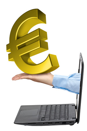 payola: Hand holding big golden euro symbol coming out from laptop isolated