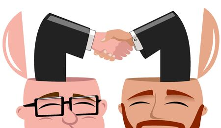 open minded: Satisfied Open Minded Businessmen handshaking isolated