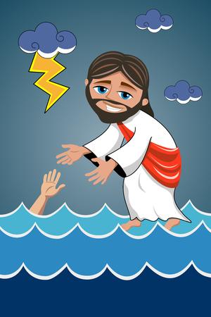 sea water: Jesus walking on water saving sea disciple Illustration