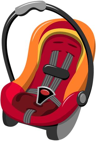asiento coche: Asiento de coche de bebé con el arnés de seguridad de cinco puntos y asa de transporte aislado Vectores