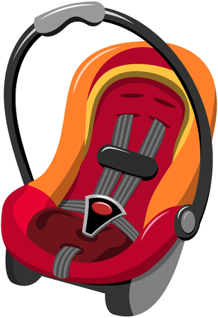 Baby Car Seat with five point safety harness and carrying handle isolated