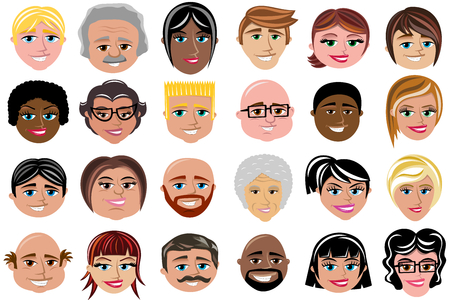 Set of smiling faces isolated characters