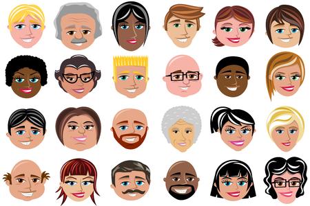 Conjunto de caracteres sonriendo caras aisladas