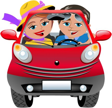 happy couple: Happy Couple Travelling in Red Car Isolated