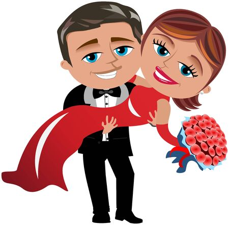 elegant dress: Man carrying woman in long elegant dress holding bouquet of red roses isolated Illustration