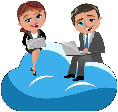 clouding: Businessman and Businesswoman working with laptop isolated on cloud Illustration