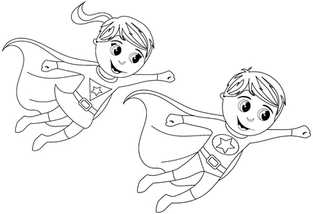 Boy and Girl Superhero kid flying for coloring book isolated
