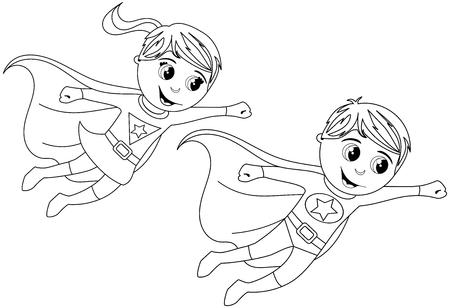 Jongen en meisje Superheld Kid vliegen voor kleurboek geïsoleerde Vector Illustratie