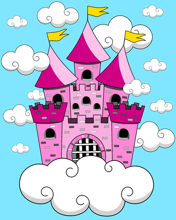 floating: Cartoon Fantasy Floating Castle in the sky