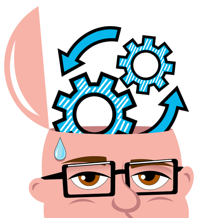 open minded: Open minded man thinking or reasoning on new idea or solution isolated Illustration