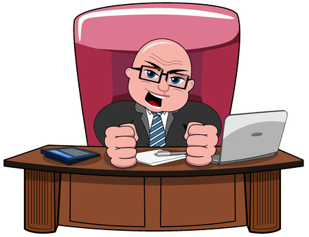 dissatisfied: Angry bald businessman cartoon boss sitting at desk with closed fists isolated