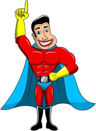 superpowers: Superhero standing with finger up isolated Illustration