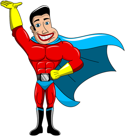 invincible: Superhero holding something with hand palm up isolated