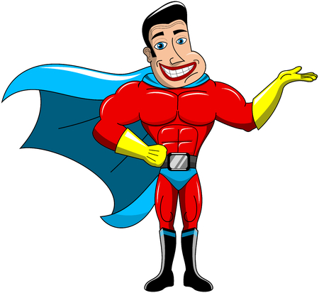 invincible: Superhero presenting or holding something isolated