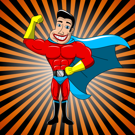 invincible: Happy cartoon superhero showing bicep against rays background