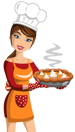 Smiling Woman Cook showing Thanksgiving Pumpkin Pie isolated