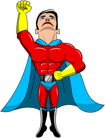 invincible: Cartoon superhero taking off or flying isolated