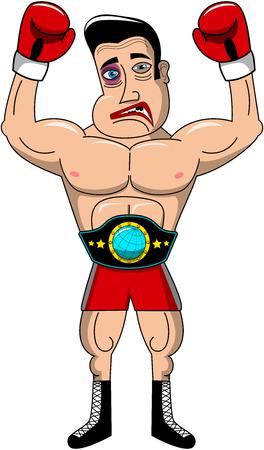 injured: Injured boxer wearing championship belt isolated