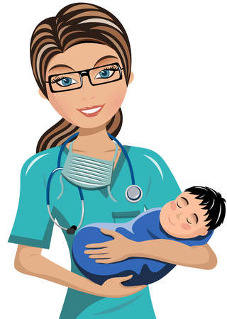 stethoscope boy: Woman Doctor Surgeon Holding newborn Isolated Illustration