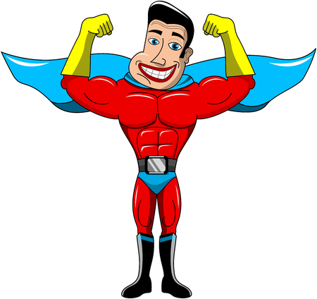 Happy superhero showing biceps isolated