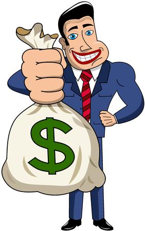 sack: Smiling cartoon businessman holding big sack of money isolated Illustration