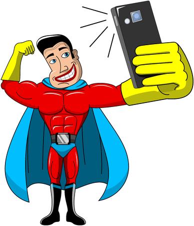 Superhero taking selfies isolated Illustration