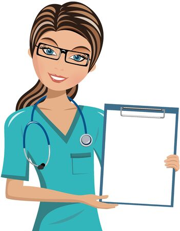assured: Smiling Woman doctor holding blank folder isolated