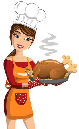 roast turkey: Smiling Woman Cook showing Thanksgiving Roast Turkey with potatoes isolated