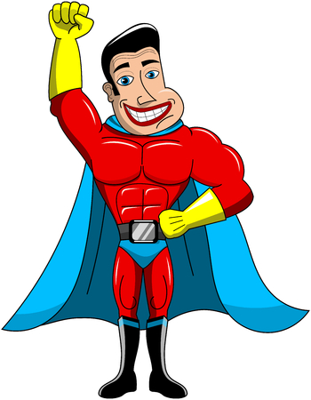 Happy cartoon superhero standing with clenched fist up isolated