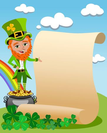 legendary: St. Patricks or St Patrick standing on the legendary pot of gold at the end of the rainbow next to old parchment in the meadow