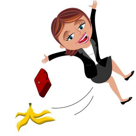 Businesswoman slipping on banana peel isolated