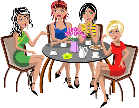 miniskirt: Young beautiful fashion women having coffee and chatting sitting at cafe isolated