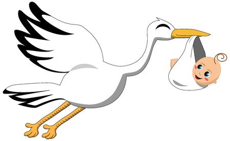 delivering: Flying stork delivering baby isolated Illustration
