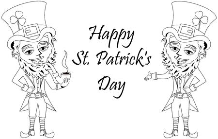 eire: St. Patricks or Saint Patrick smoking pipe for coloring book isolated