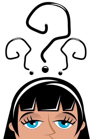 interrogative: Mujer hermosa preocupante con marcas aisladas interrogativas