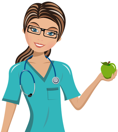divulge: Doctor smiling and holding apple isolated
