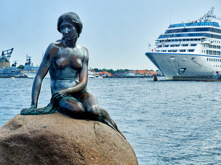 Famous Little Mermaid Statue in Copenhagen Denmark