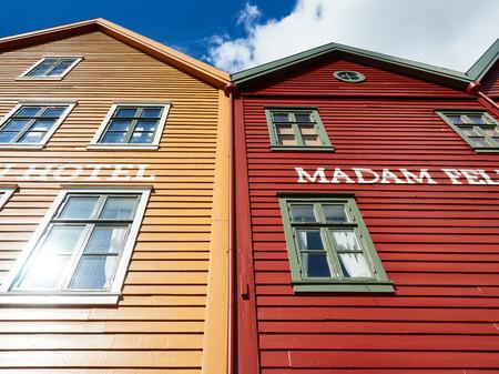 historical buildings: Bergen,Norway - June 2016: Waterfront in Bergen with historical buildings Editorial