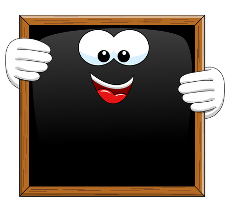 looking down: Happy Cartoon blackboard looking down at blank message isolated Illustration