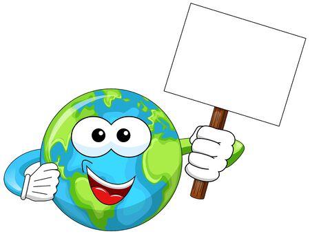 Cartoon earth holding white blank billboard isolated