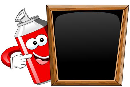 indicating: Happy cartoon can indicating behind blank blackboard isolated