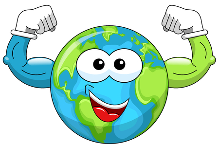 biceps: Cartoon Earth showing biceps isolated