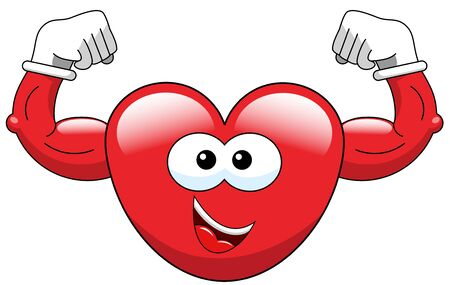 Cartoon heart showing biceps isolated