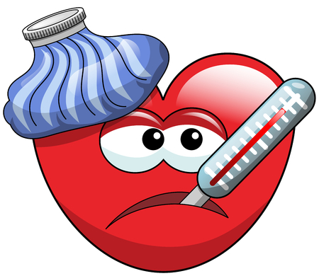 Sick cartoon heart with thermometer and ice bag isolated