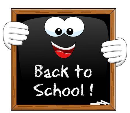 blackboard isolated: Back to school written on Cartoon Blackboard isolated Illustration