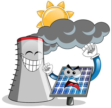 cooling tower: Cartoon angry solar panel complaining against cooling tower isolated Illustration