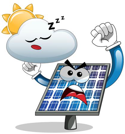 boycott: Cartoon angry solar panel complaining against sleepy cloud isolated Illustration